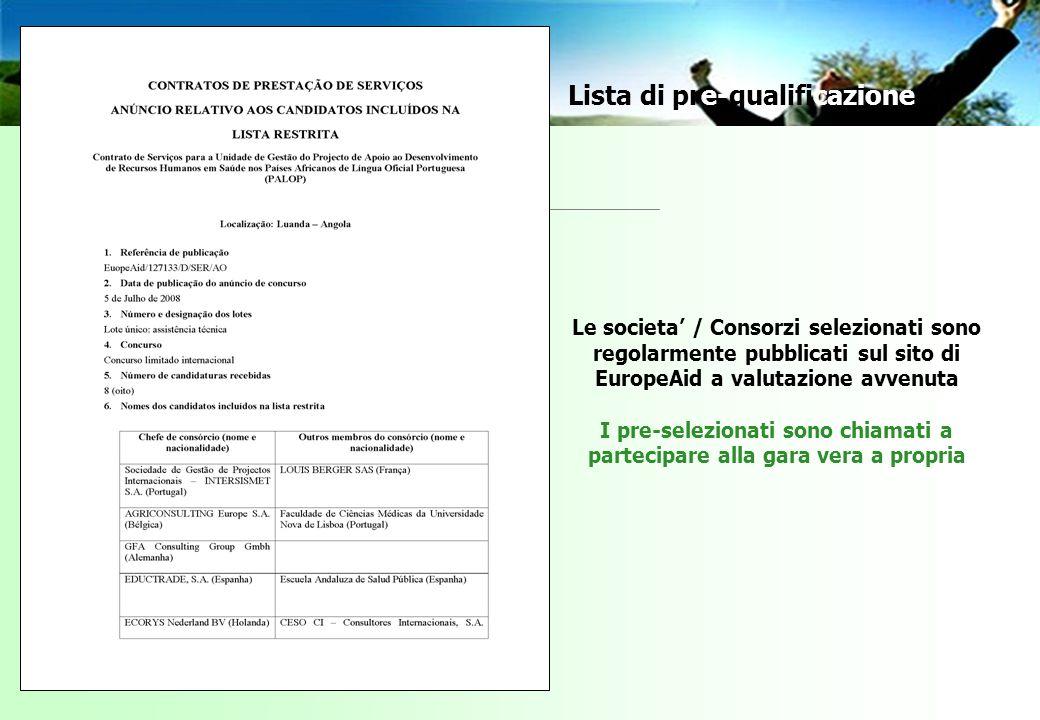 Le societa / Consorzi selezionati sono regolarmente pubblicati sul sito di EuropeAid a valutazione avvenuta I pre-selezionati sono chiamati a partecipare alla gara vera a propria Lista di pre-qualificazione