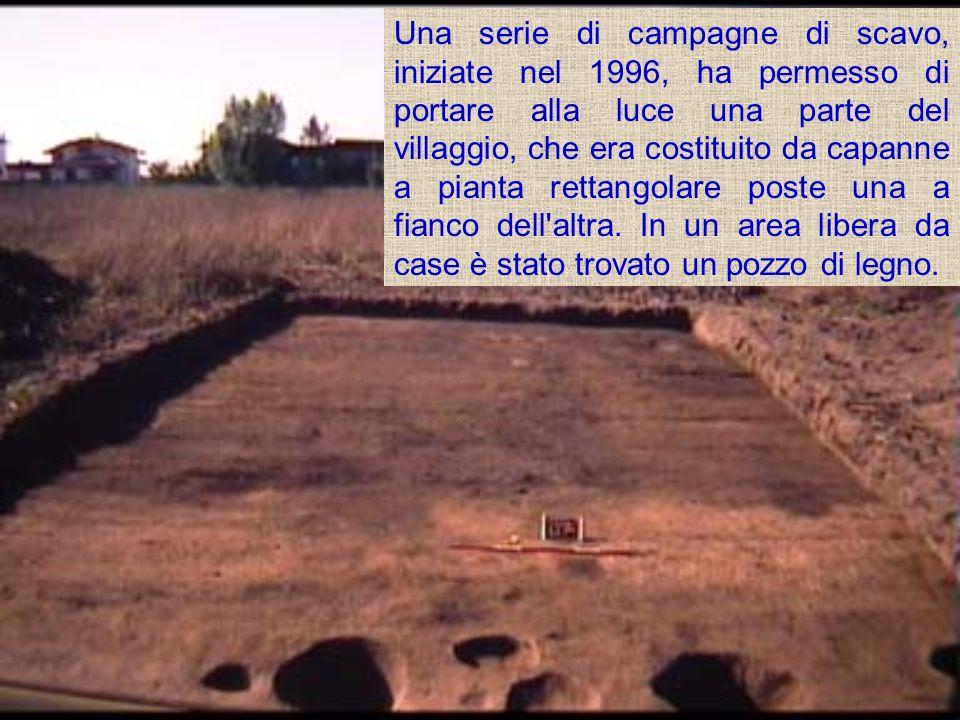 Una serie di campagne di scavo, iniziate nel 1996, ha permesso di portare alla luce una parte del villaggio, che era costituito da capanne a pianta rettangolare poste una a fianco dell altra.