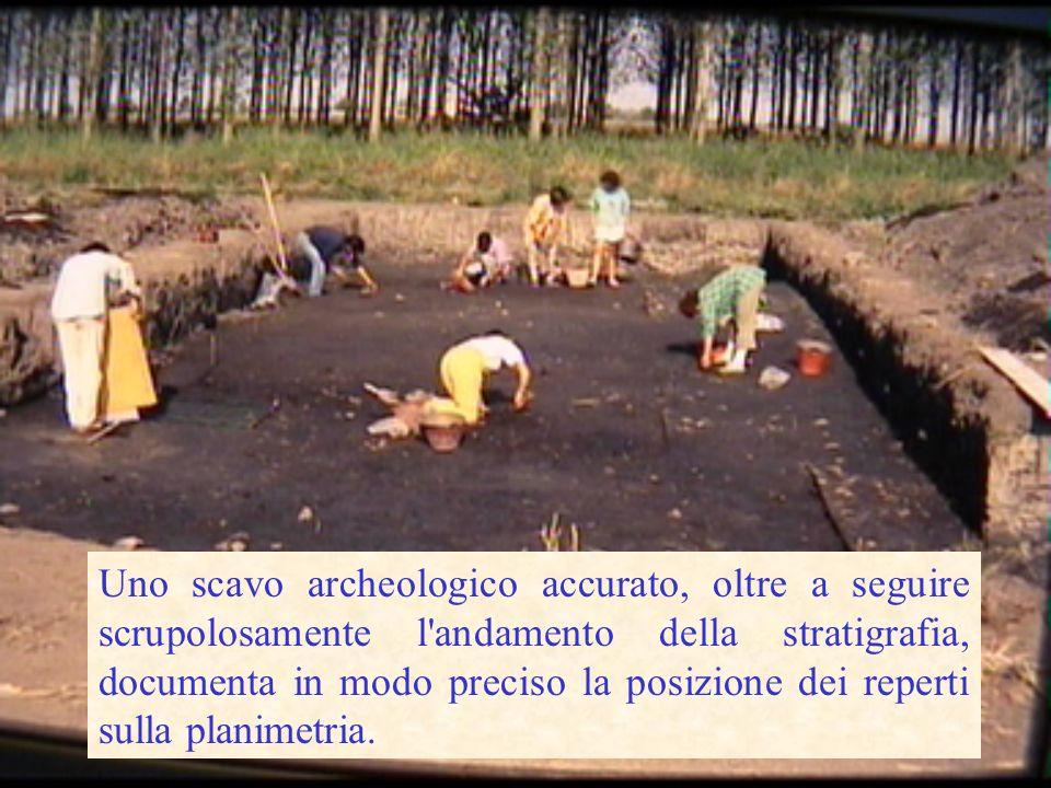 Uno scavo archeologico accurato, oltre a seguire scrupolosamente l andamento della stratigrafia, documenta in modo preciso la posizione dei reperti sulla planimetria.