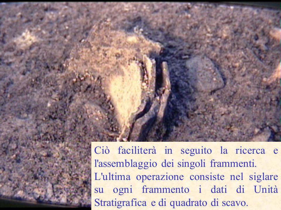 Sullo scavo i reperti vengono raccolti in sacchetti (classificati per riquadro) e quindi in cassette (classificandoli per Unità Stratigrafica).