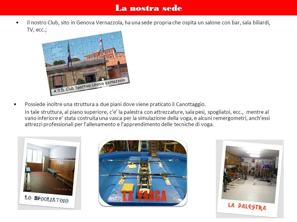 La nostra sede Il nostro Club, sito in Genova Vernazzola, ha una sede propria che ospita un salone con bar, sala biliardi, TV, ecc.; Possiede inoltre una struttura a due piani dove viene praticato il Canottaggio.