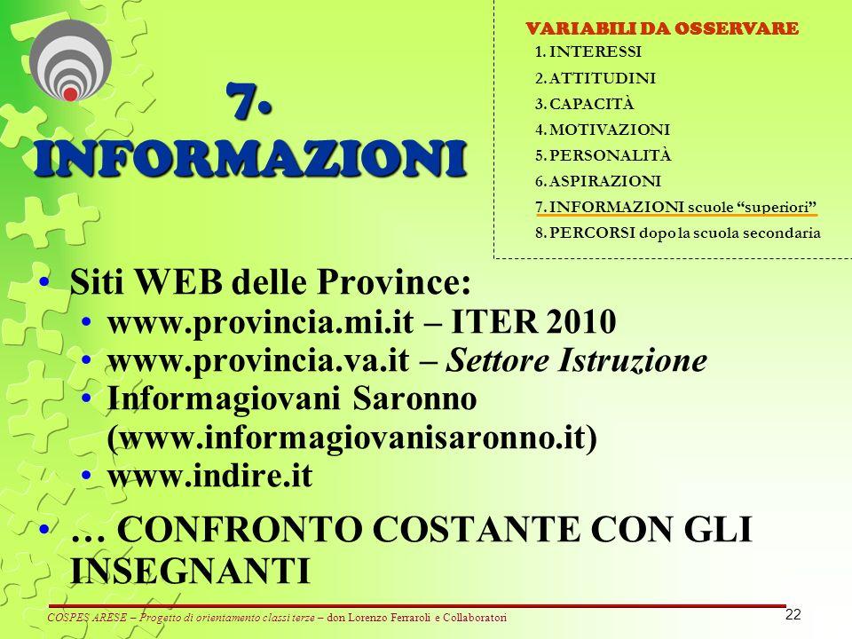 22 Siti WEB delle Province: www.provincia.mi.it – ITER 2010 www.provincia.va.it – Settore Istruzione Informagiovani Saronno (www.informagiovanisaronno