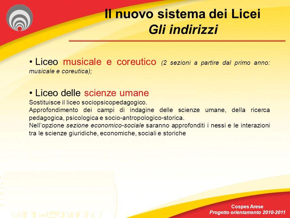 Il nuovo sistema dei Licei Gli indirizzi Cospes Arese Progetto orientamento 2010-2011 Liceo musicale e coreutico (2 sezioni a partire dal primo anno: