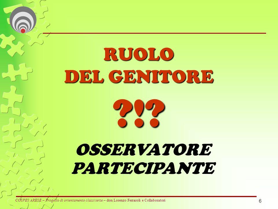 6 RUOLO DEL GENITORE ?!? OSSERVATORE PARTECIPANTE COSPES ARESE – Progetto di orientamento classi terze – don Lorenzo Ferraroli e Collaboratori