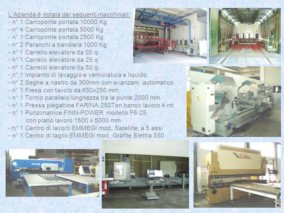 LAzienda è dotata dei seguenti macchinari: - n° 1 Carroponte portata 10000 Kg - n° 4 Carroponte portata 5000 Kg - n° 1 Carroponte portata 2500 Kg - n°