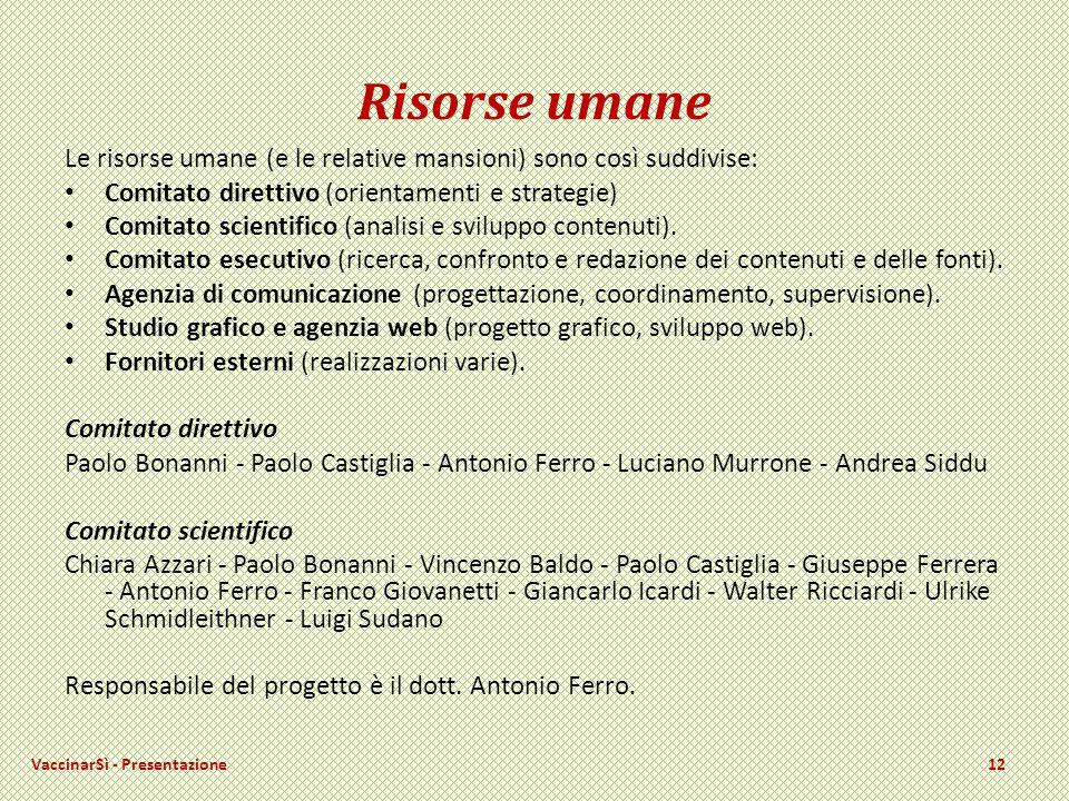 Risorse umane Le risorse umane (e le relative mansioni) sono così suddivise: Comitato direttivo (orientamenti e strategie) Comitato scientifico (analisi e sviluppo contenuti).