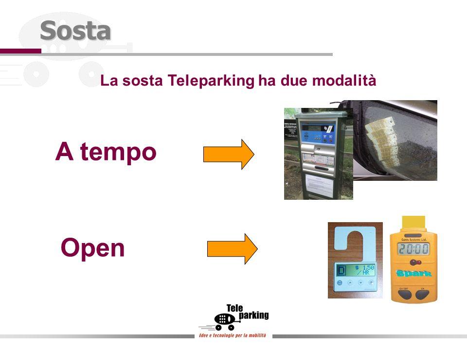 La sosta Teleparking ha due modalitàSosta A tempo Open