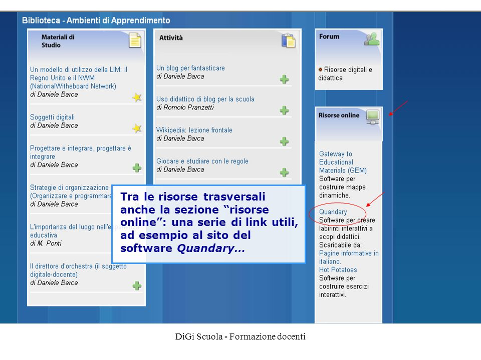 DiGi Scuola - Formazione docenti Tra le risorse trasversali anche la sezione risorse online: una serie di link utili, ad esempio al sito del software Quandary…