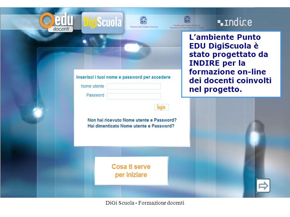 DiGi Scuola - Formazione docenti Lambiente Punto EDU DigiScuola è stato progettato da INDIRE per la formazione on-line dei docenti coinvolti nel progetto.