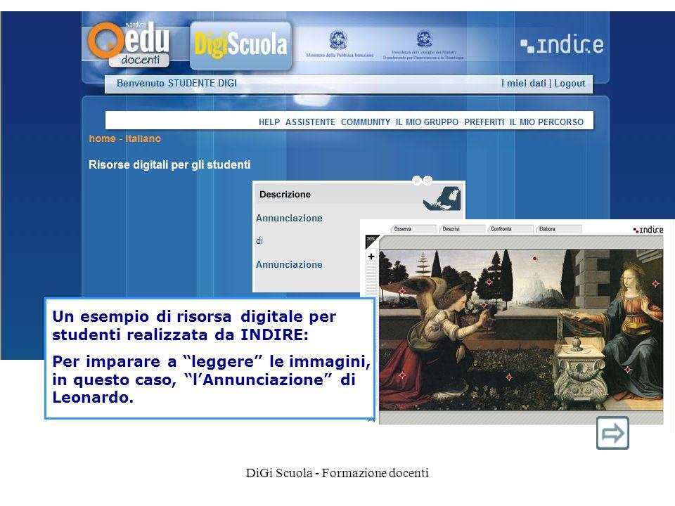 Un esempio di risorsa digitale per studenti realizzata da INDIRE: Per imparare a leggere le immagini, in questo caso, lAnnunciazione di Leonardo.