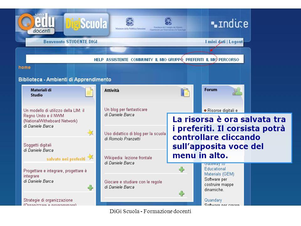 DiGi Scuola - Formazione docenti La risorsa è ora salvata tra i preferiti.