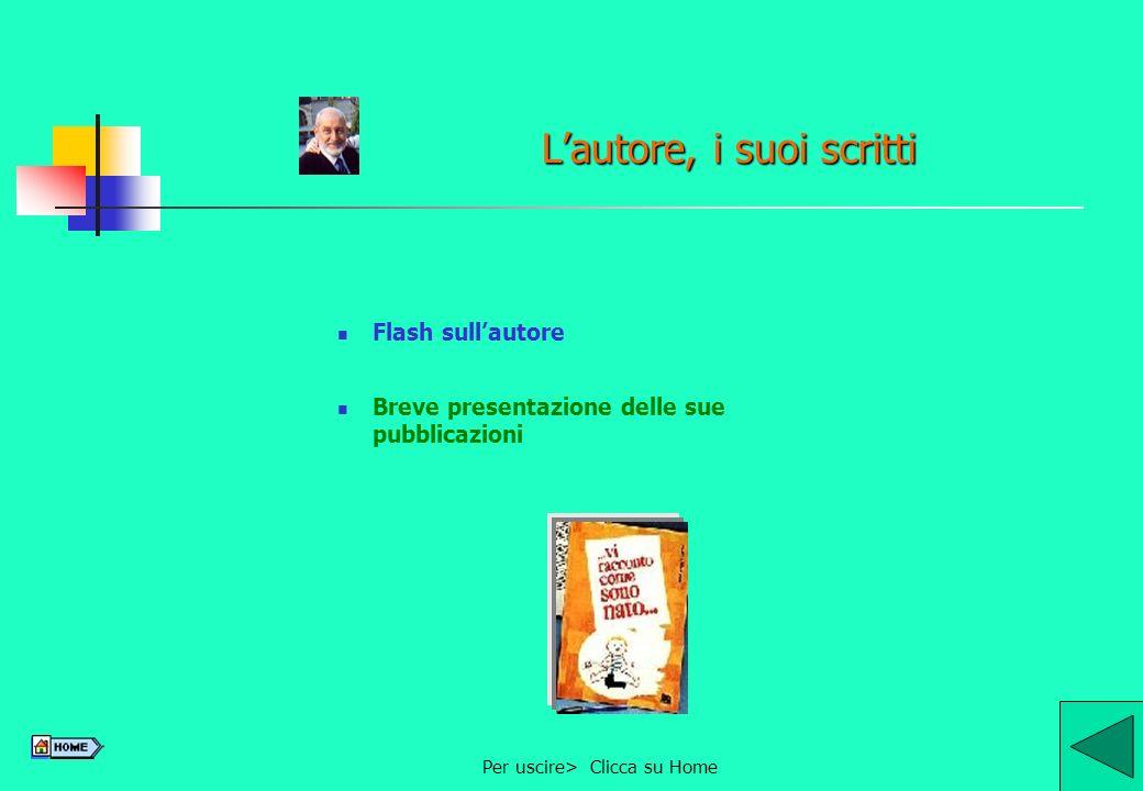 Per uscire> Clicca su Home9 Lautore, i suoi scritti Flash sullautore Breve presentazione delle sue pubblicazioni