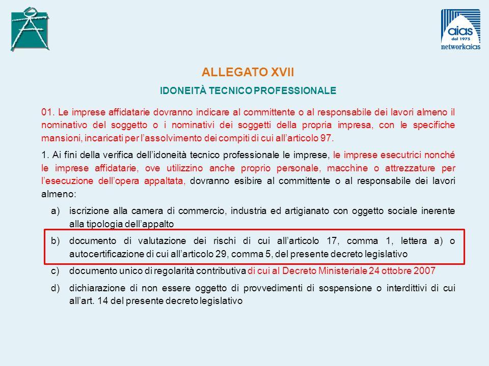 ALLEGATO XVII IDONEITÀ TECNICO PROFESSIONALE 01.