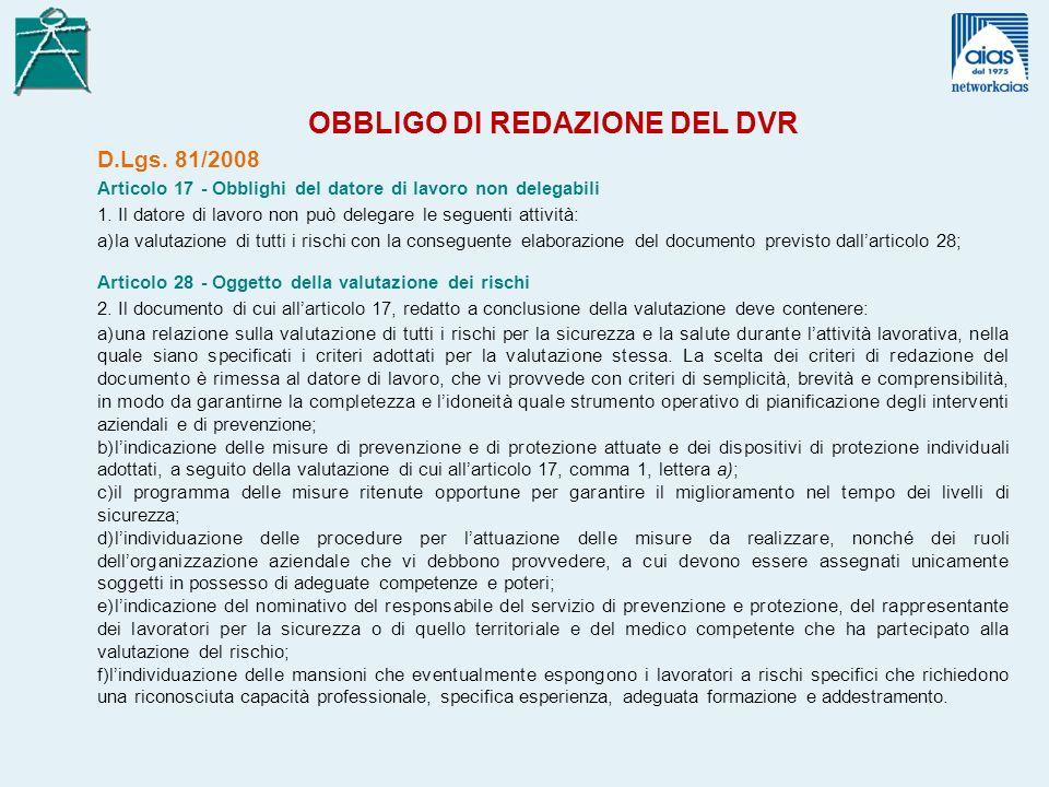 OBBLIGO DI REDAZIONE DEL DVR D.Lgs.