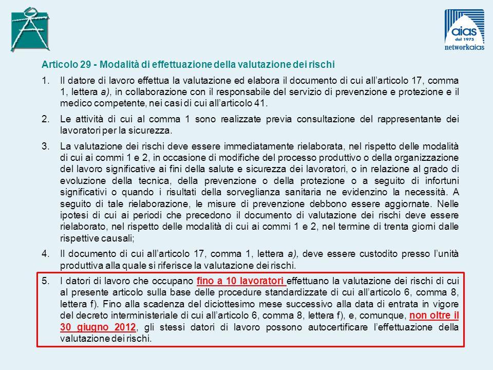 Articolo 29 - Modalità di effettuazione della valutazione dei rischi 1.Il datore di lavoro effettua la valutazione ed elabora il documento di cui allarticolo 17, comma 1, lettera a), in collaborazione con il responsabile del servizio di prevenzione e protezione e il medico competente, nei casi di cui allarticolo 41.