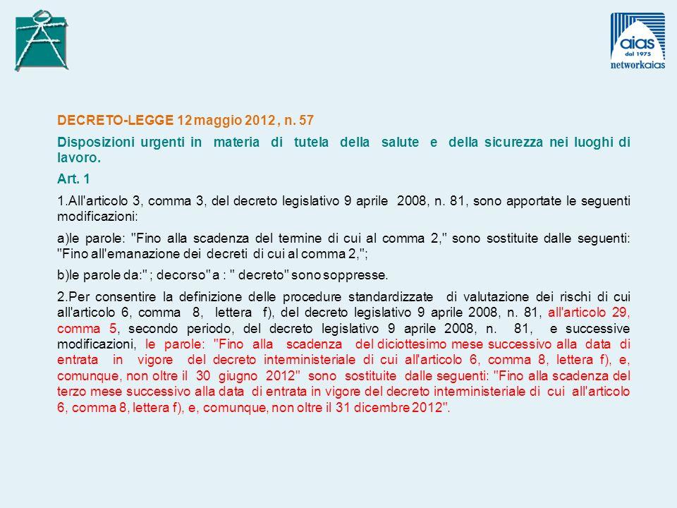 DECRETO-LEGGE 12 maggio 2012, n.