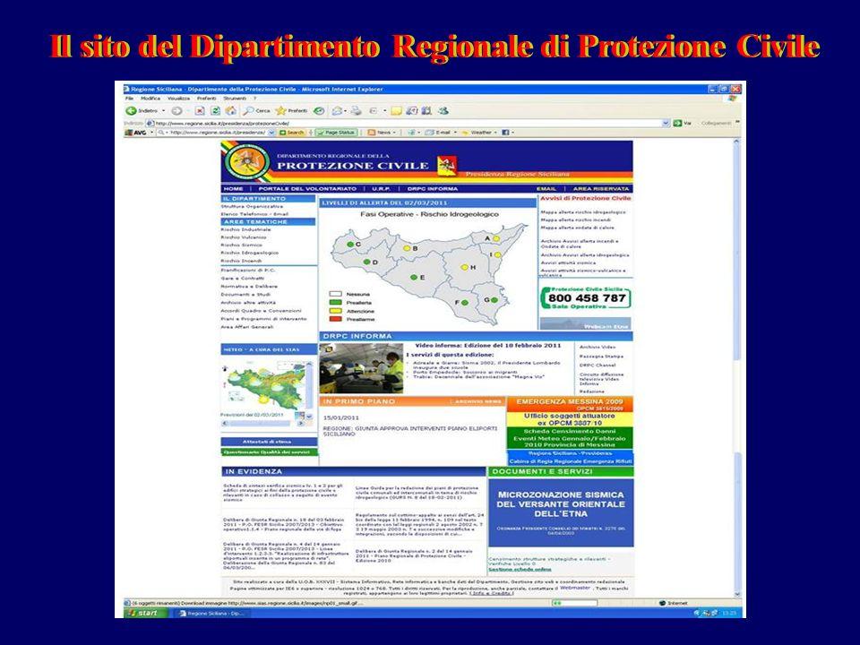 Il sito del Dipartimento Regionale di Protezione CivileIl sito del Dipartimento Regionale di Protezione Civile
