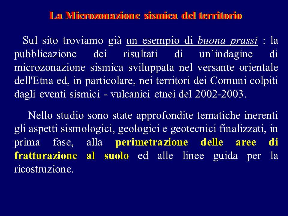 La Microzonazione sismica del territorioLa Microzonazione sismica del territorio Sul sito troviamo già un esempio di buona prassi : la pubblicazione dei risultati di unindagine di microzonazione sismica sviluppata nel versante orientale dell Etna ed, in particolare, nei territori dei Comuni colpiti dagli eventi sismici - vulcanici etnei del 2002-2003.