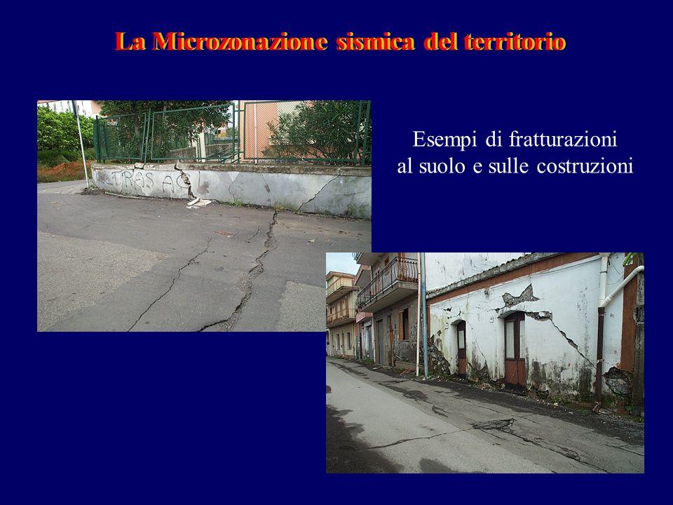 La Microzonazione sismica del territorioLa Microzonazione sismica del territorio Esempi di fratturazioni al suolo e sulle costruzioni