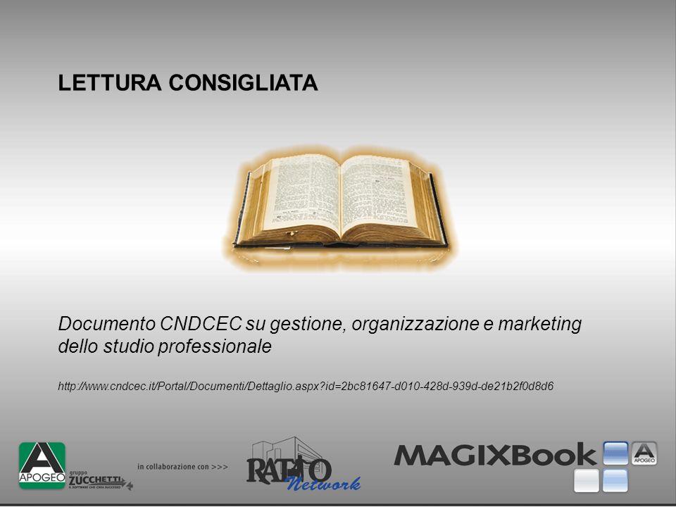 LETTURA CONSIGLIATA Documento CNDCEC su gestione, organizzazione e marketing dello studio professionale http://www.cndcec.it/Portal/Documenti/Dettagli