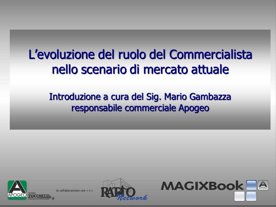 Levoluzione del ruolo del Commercialista nello scenario di mercato attuale Introduzione a cura del Sig. Mario Gambazza responsabile commerciale Apogeo