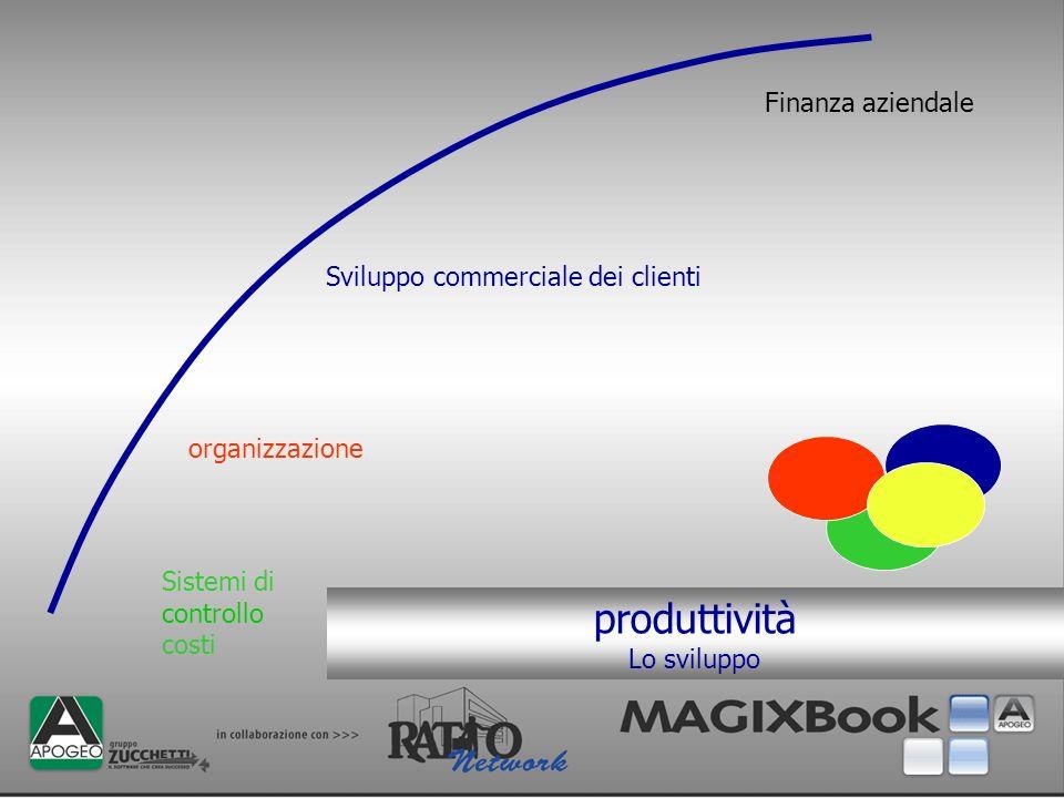 produttività Lo sviluppo Sistemi di controllo costi organizzazione Sviluppo commerciale dei clienti Finanza aziendale