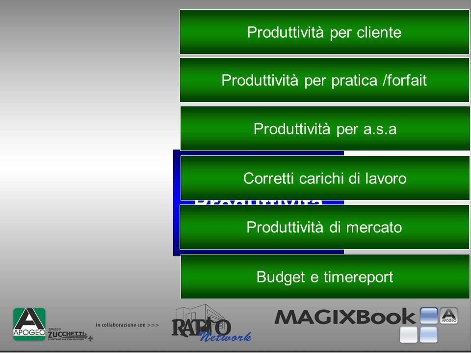 Produttività Produttività per cliente Produttività per pratica /forfait Produttività per a.s.a Corretti carichi di lavoro Produttività di mercato Budg