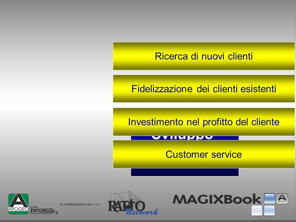 Sviluppo commerciale Ricerca di nuovi clienti Fidelizzazione dei clienti esistenti Investimento nel profitto del cliente Customer service