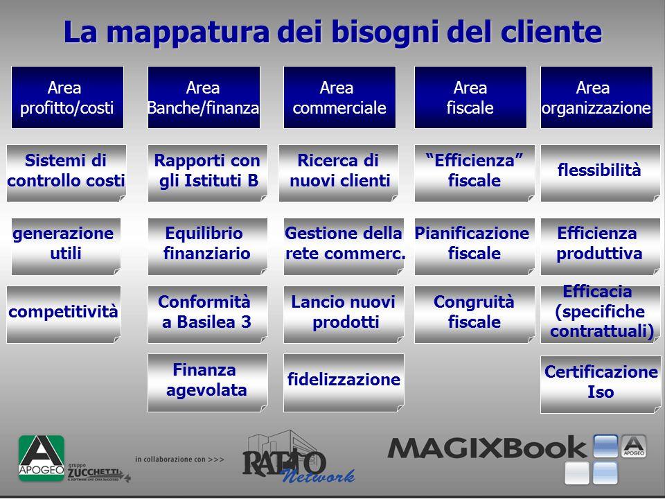 La mappatura dei bisogni del cliente Area organizzazione Area fiscale Area commerciale Area Banche/finanza Area profitto/costi Sistemi di controllo co