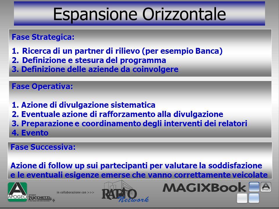 Espansione Orizzontale Fase Strategica: 1.Ricerca di un partner di rilievo (per esempio Banca) 2.Definizione e stesura del programma 3. Definizione de