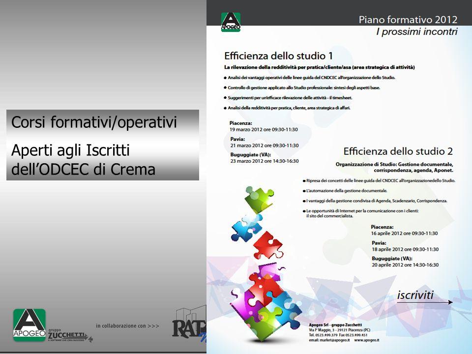 Corsi formativi/operativi Aperti agli Iscritti dellODCEC di Crema