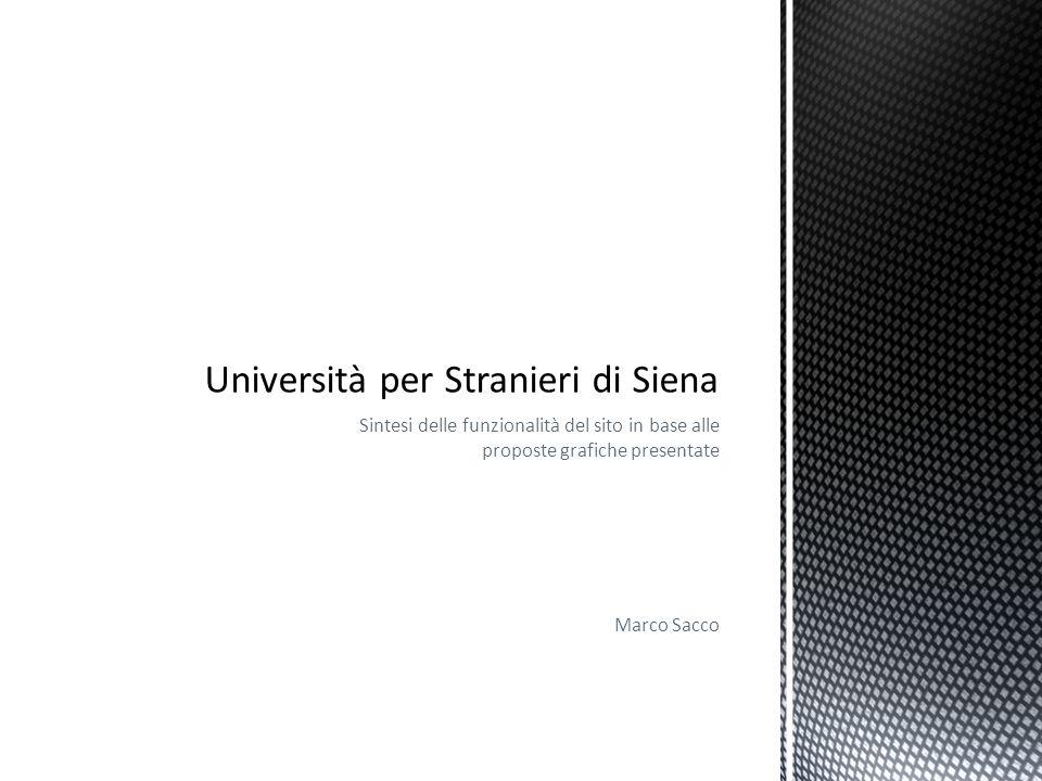 Sintesi delle funzionalità del sito in base alle proposte grafiche presentate Marco Sacco