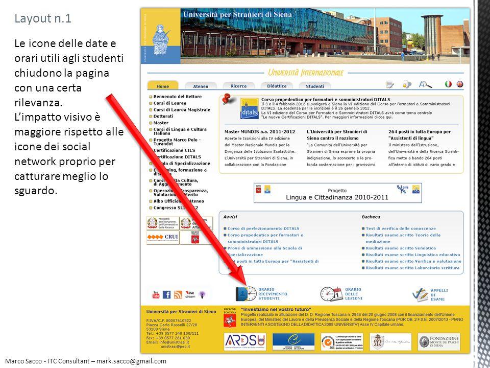 Le icone delle date e orari utili agli studenti chiudono la pagina con una certa rilevanza. Limpatto visivo è maggiore rispetto alle icone dei social