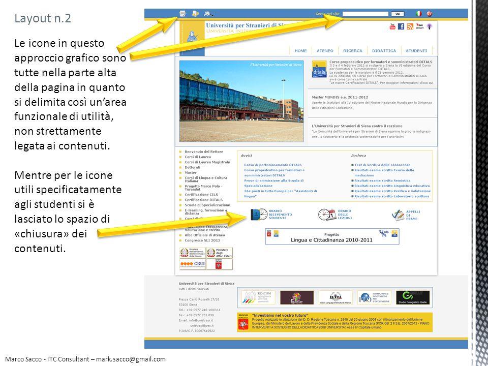 Marco Sacco - ITC Consultant – mark.sacco@gmail.com Layout n.2 Le icone in questo approccio grafico sono tutte nella parte alta della pagina in quanto