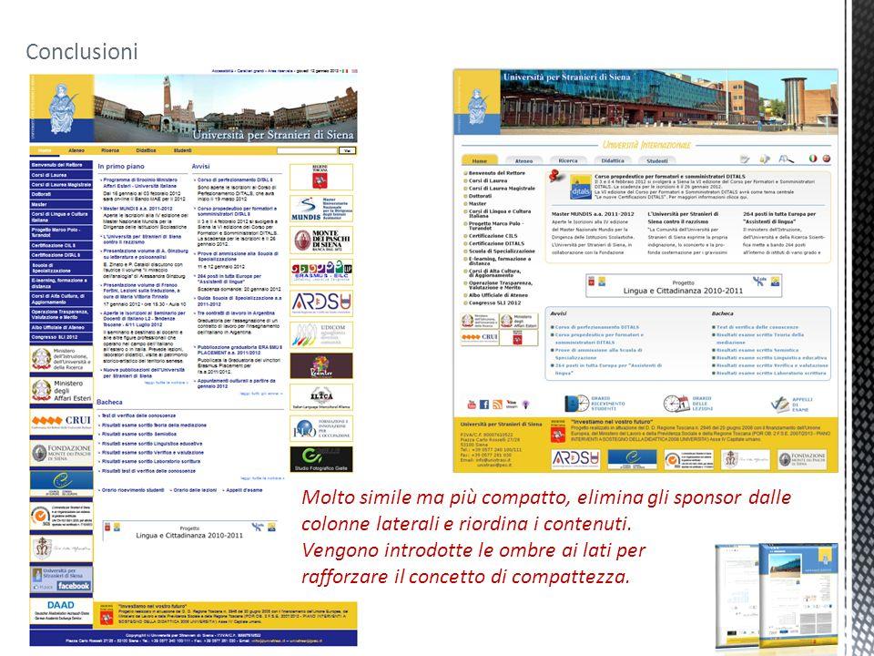 Conclusioni Molto simile ma più compatto, elimina gli sponsor dalle colonne laterali e riordina i contenuti. Vengono introdotte le ombre ai lati per r