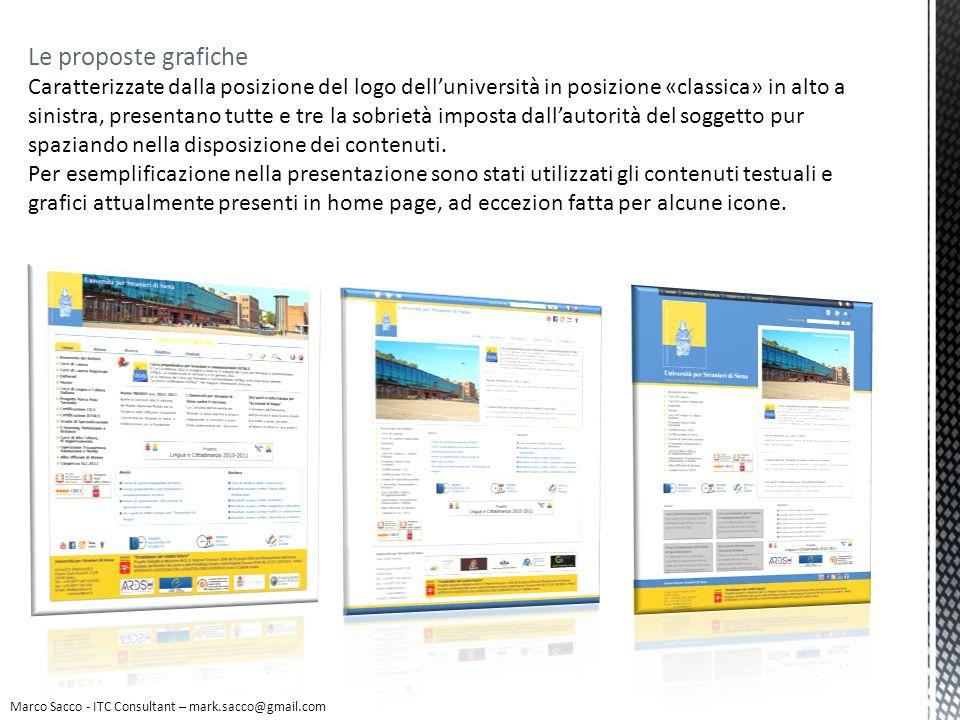 Le proposte grafiche Le icone introdotte sono specifiche per alcune funzionalità che nellattuale sito si presentano in modalità testuale.