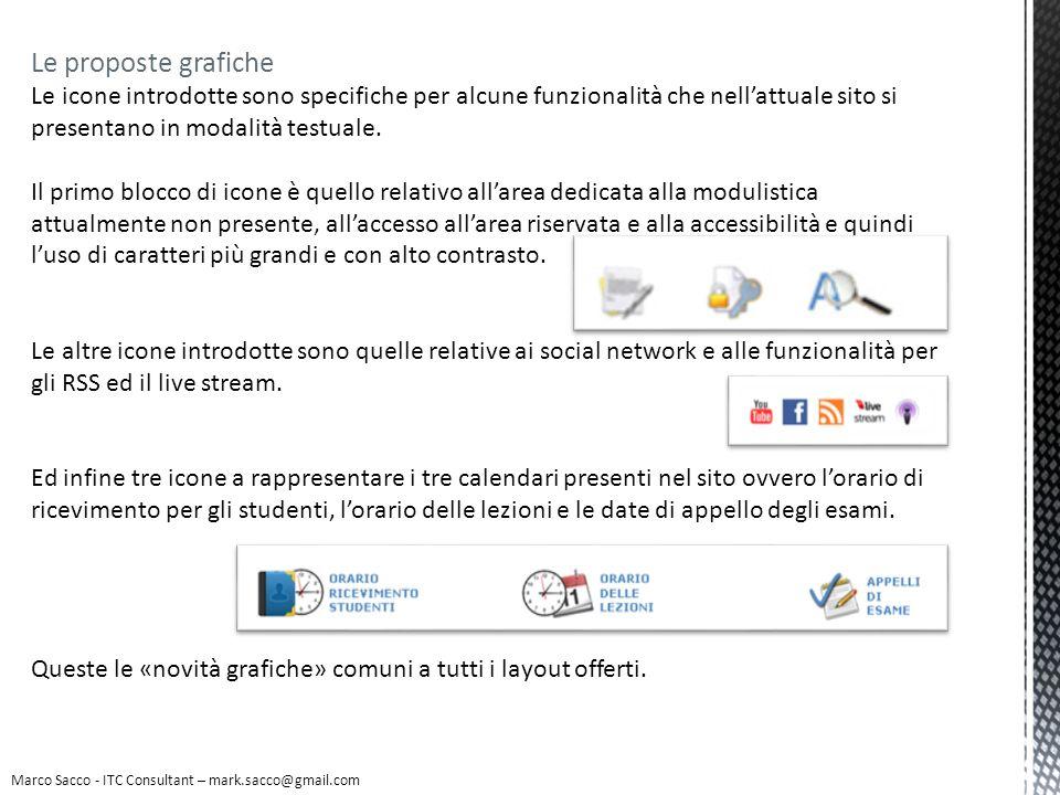 Marco Sacco - ITC Consultant – mark.sacco@gmail.com Layout n.2 Le icone in questo approccio grafico sono tutte nella parte alta della pagina in quanto si delimita così unarea funzionale di utilità, non strettamente legata ai contenuti.