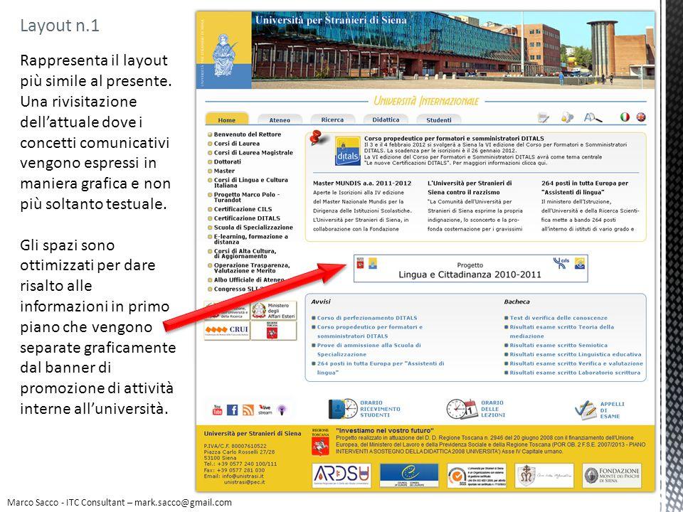 Layout n.1 Marco Sacco - ITC Consultant – mark.sacco@gmail.com Rappresenta il layout più simile al presente. Una rivisitazione dellattuale dove i conc