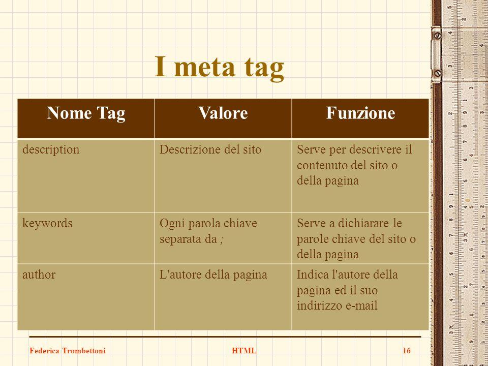 Nome TagValoreFunzione descriptionDescrizione del sitoServe per descrivere il contenuto del sito o della pagina keywordsOgni parola chiave separata da