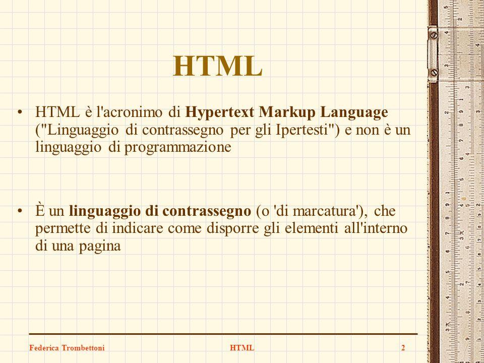 Federica TrombettoniHTML2 HTML è l'acronimo di Hypertext Markup Language (