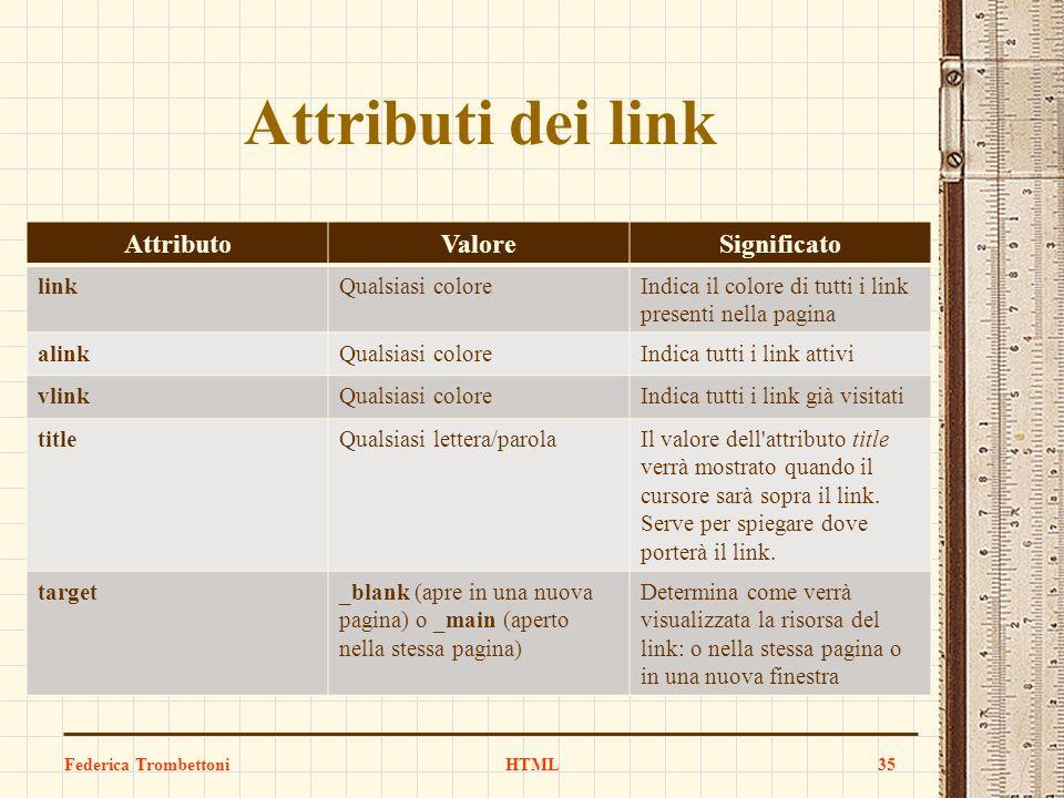 Attributi dei link AttributoValoreSignificato linkQualsiasi coloreIndica il colore di tutti i link presenti nella pagina alinkQualsiasi coloreIndica t