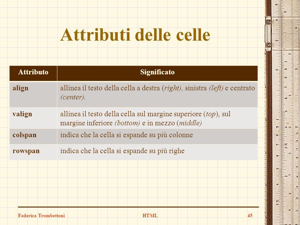 Attributi delle celle Federica TrombettoniHTML45 AttributoSignificato alignallinea il testo della cella a destra (right), sinistra (left) e centrato (