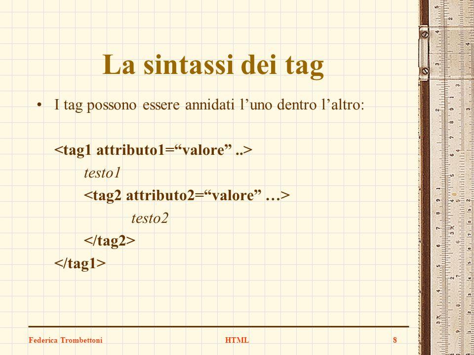La sintassi dei tag I tag possono essere annidati luno dentro laltro: testo1 testo2 Federica TrombettoniHTML8