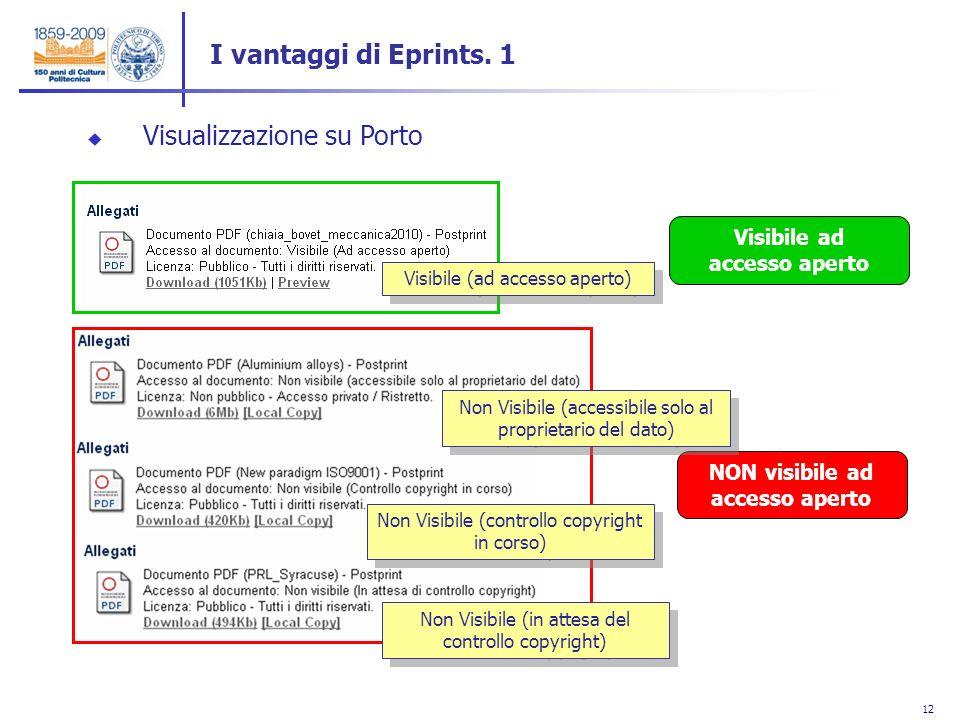 12 Visualizzazione su Porto Visibile ad accesso aperto NON visibile ad accesso aperto I vantaggi di Eprints. 1 Visibile (ad accesso aperto) Non Visibi