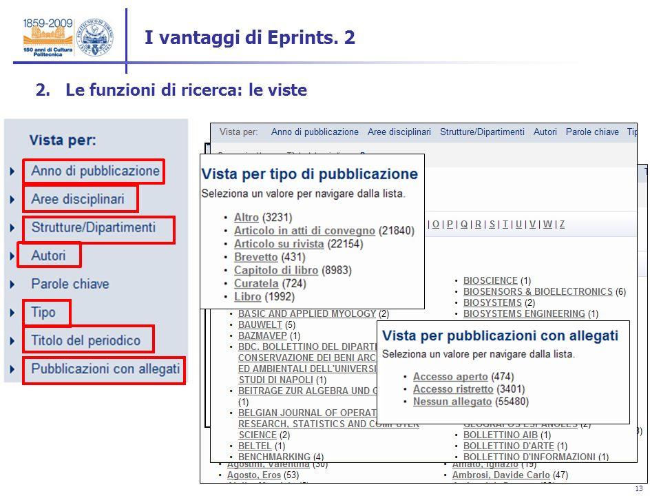 13 2. Le funzioni di ricerca: le viste I vantaggi di Eprints. 2