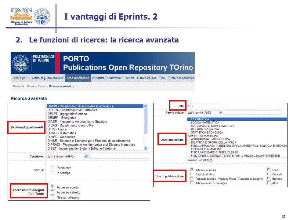 15 2. Le funzioni di ricerca: la ricerca avanzata I vantaggi di Eprints. 2