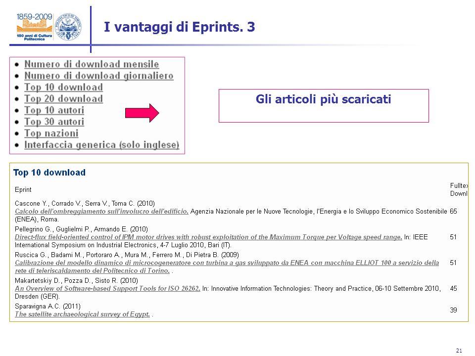 21 Gli articoli più scaricati I vantaggi di Eprints. 3