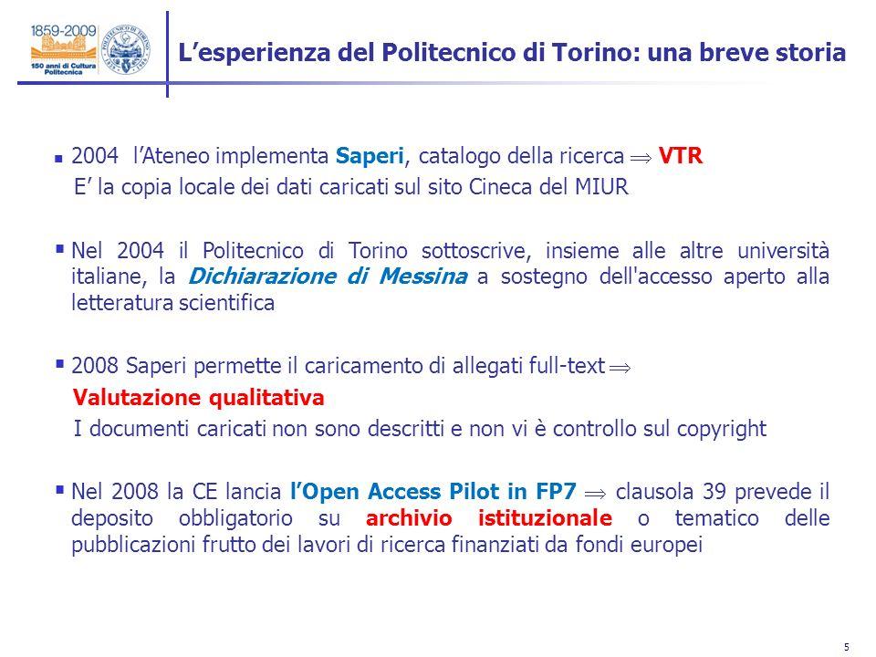 5 5 2004 lAteneo implementa Saperi, catalogo della ricerca VTR E la copia locale dei dati caricati sul sito Cineca del MIUR Nel 2004 il Politecnico di