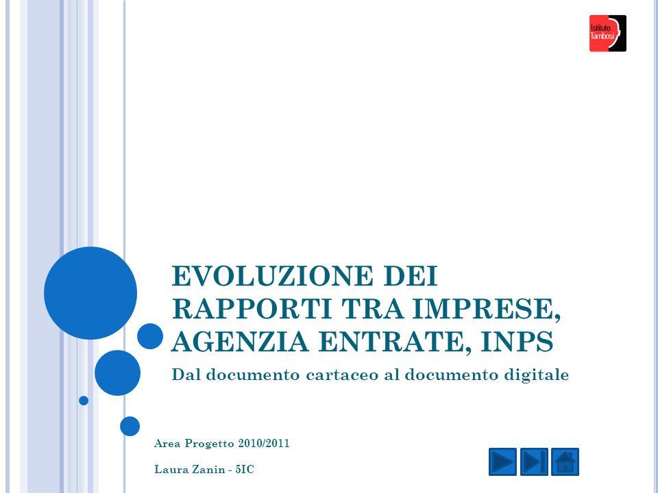 EVOLUZIONE DEI RAPPORTI TRA IMPRESE, AGENZIA ENTRATE, INPS Dal documento cartaceo al documento digitale Area Progetto 2010/2011 Laura Zanin - 5IC