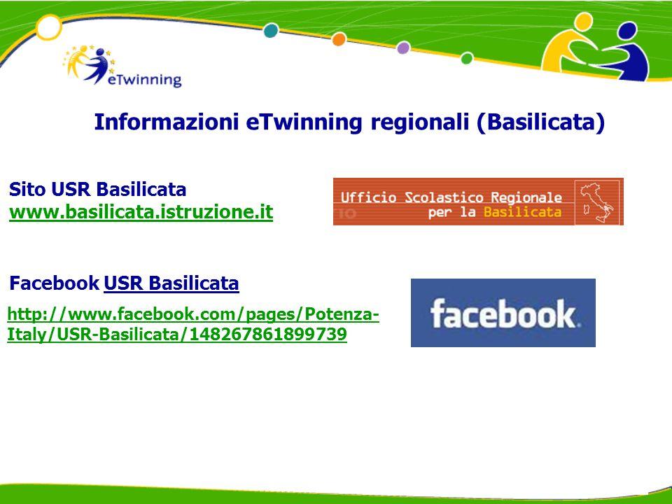 Sito USR Basilicata www.basilicata.istruzione.it www.basilicata.istruzione.it Facebook USR Basilicata Informazioni eTwinning regionali (Basilicata) http://www.facebook.com/pages/Potenza- Italy/USR-Basilicata/148267861899739